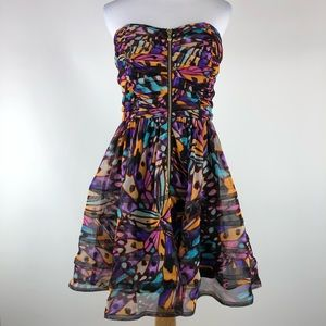 Betsey Johnson 10 Butterfly Print Strapless Dress